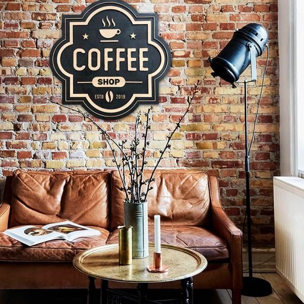 Letrero madera café