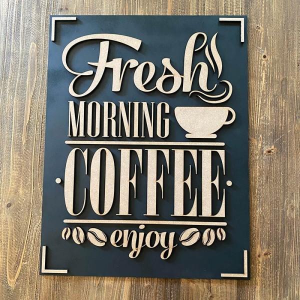 cuadro madera FRESH MORNING COFFEE
