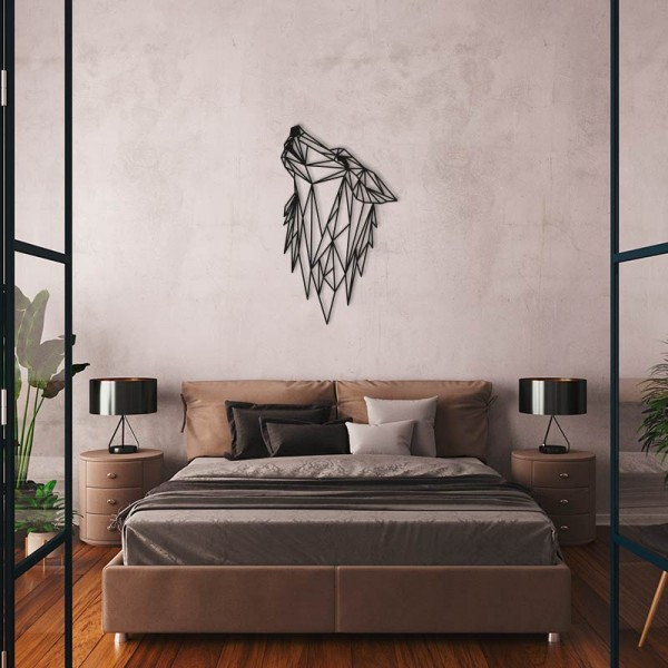 Lobo aullido en madera para decorar pared