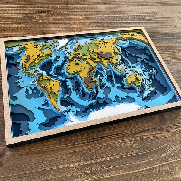 3D multilayer wooden world map
