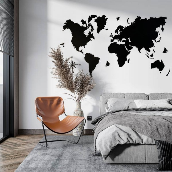 Mapamundi en DM negro para decorar paredes