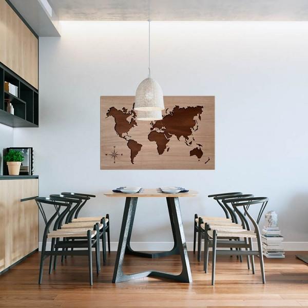 Cuadro mapamundi de madera 2 tonos