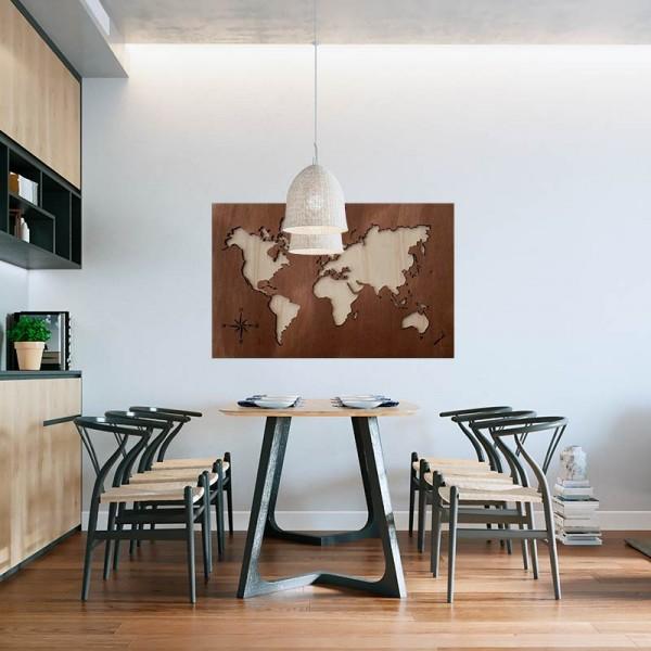 Cuadro mapamundi de madera 2 tonos oscuro