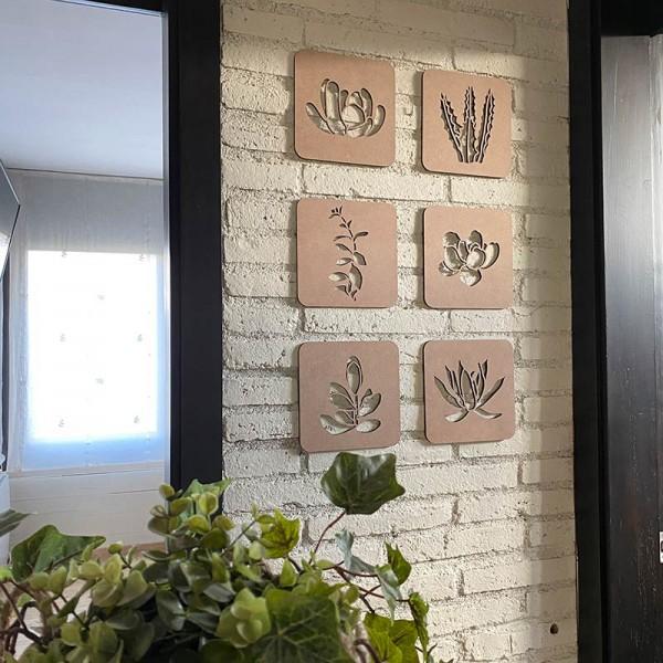 Conjunto cuadros cactus de madera