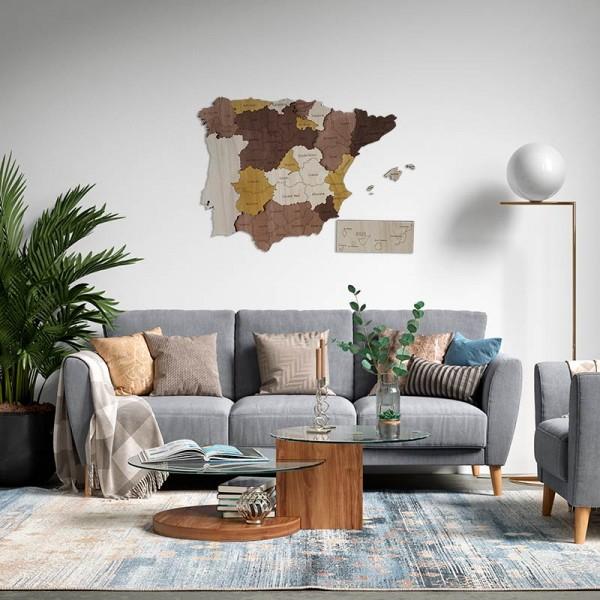 Mapa de España en 3D de madera