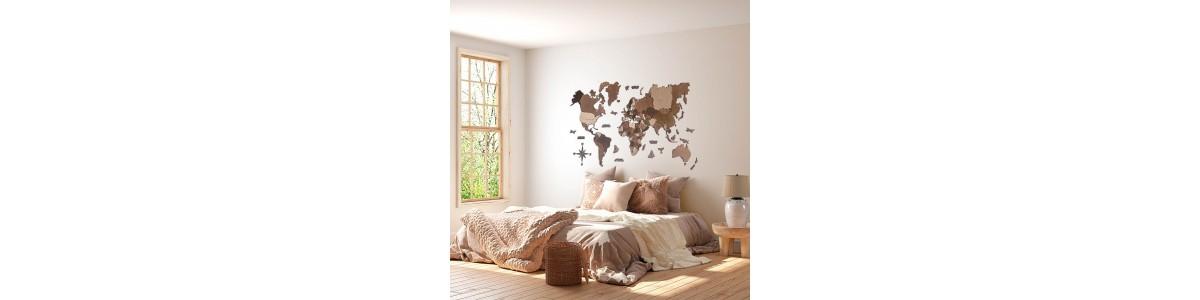 Mapes del món de fusta