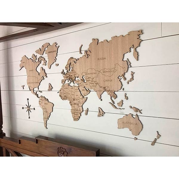Wooden world maps