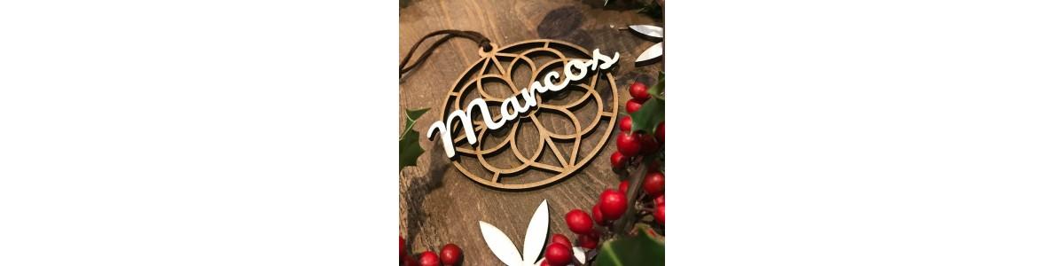 Wooden geometric ornaments