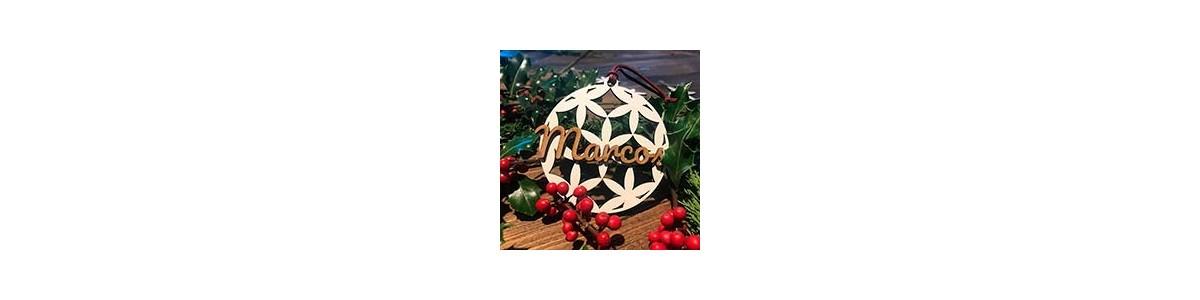 Adornos de madera flor de la vida