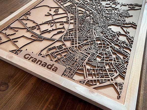 Wooden city maps